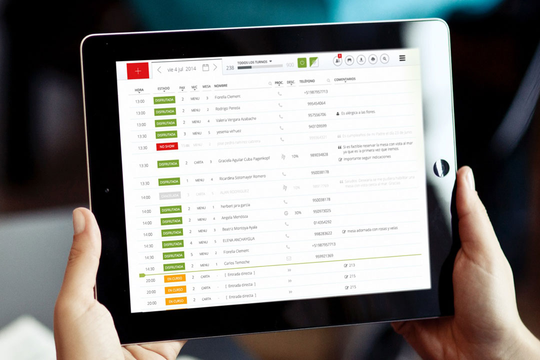 Digital Prototype: Tablebooking restaurant reservation management system.